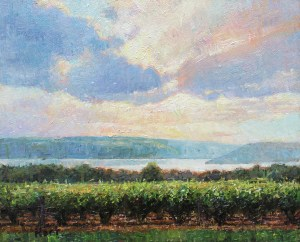 "Brian Hart ""Vineyard Sky"" 8x10 oil $500."