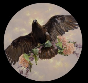 "Dana Hawk ""Amiable Huntress"" 18"" diameter (round panel) oil $1,650. SOLD"