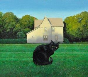"""David Higgins """"Cat"""" 21x24 oil $1,600."""