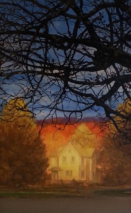 "David Higgins ""Evening Hillside"" 17x11 oil $1,200."