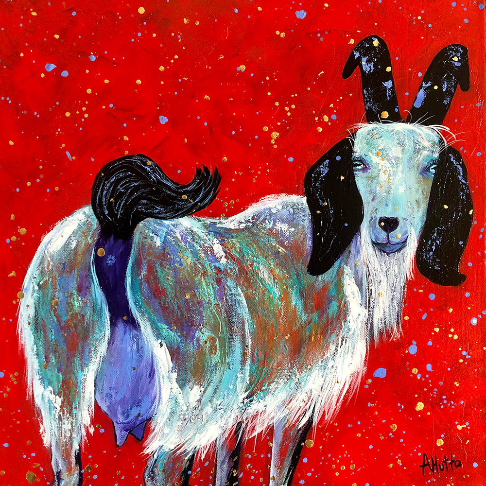 "Amy Hutto ""Are You Lookin' at My Bum?"" 16x16 acrylic/gold leaf $495. gallery wrap"