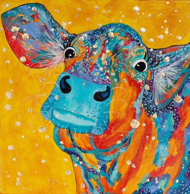 "Amy Hutto ""Bright Eyes"" 8x8 acrylic/gold leaf on canvas/gallery wrap $235."