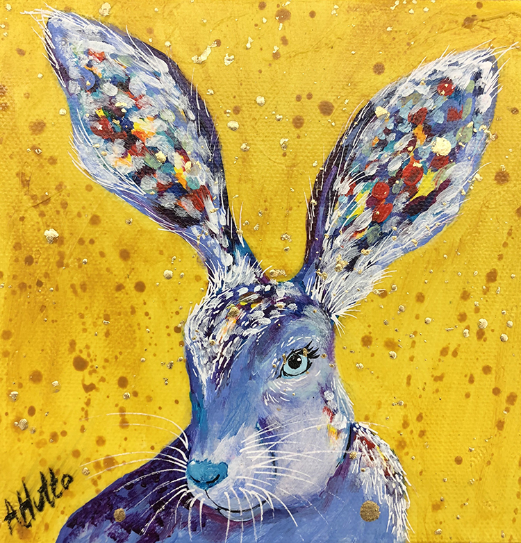 "Amy Hutto ""Bun Bun"" 6x6 acrylic/gold leaf gallery wrap $185."