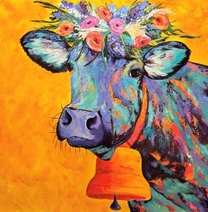 """Amy Hutto """"Cowntess Fiore"""" 24x24 acrylic/gold leaf $735. gallery wrap"""