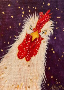 """Amy Hutto """"You Called?"""" 7x5 acrylic/gold leaf $195. gallery wrap"""