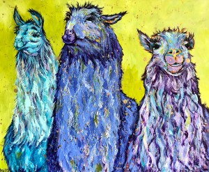 "Amy Hutto ""Maurice, Barry & Robin"" 20x24 acrylic/gold leaf $750. gallery wrap"
