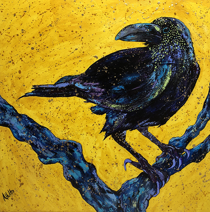 "Amy Hutto ""Nevermore"" 20x20 acrylic $595. Inquire on availability"