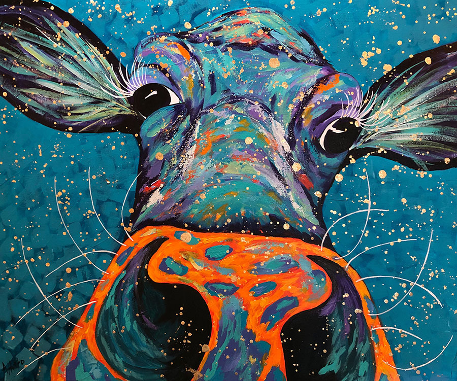 "Amy Hutto ""Nosey"" 20x24 acrylic/gold leaf $695. gallery wrap SOLD"