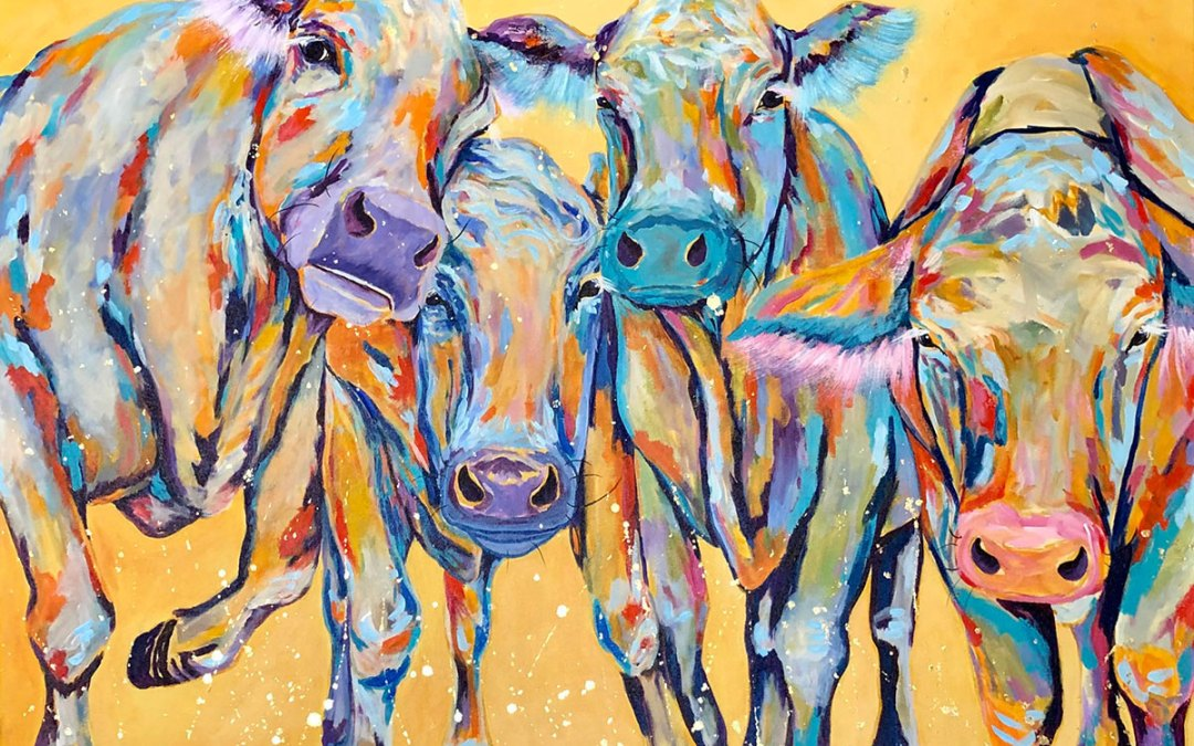 """Amy Hutto """"The Squad"""" 30x40 acrylic/gold leaf $1,850. gallery wrap"""