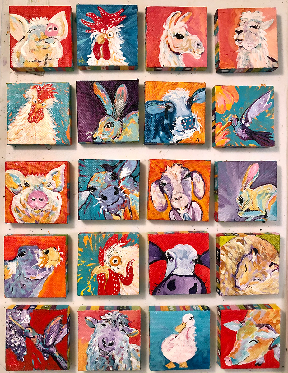 """Amy Hutto """"L'il Gems"""" 2x2 acrylic/gold leaf paintings on canvas with decorated edges (includes hand painted easel) $45. each - Sold individually"""