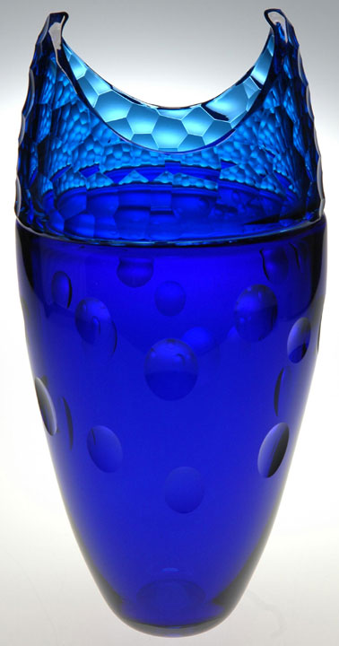 "Aaron Jack ""Blue Cut Vase"" blown & cold-worked glass $1,200."