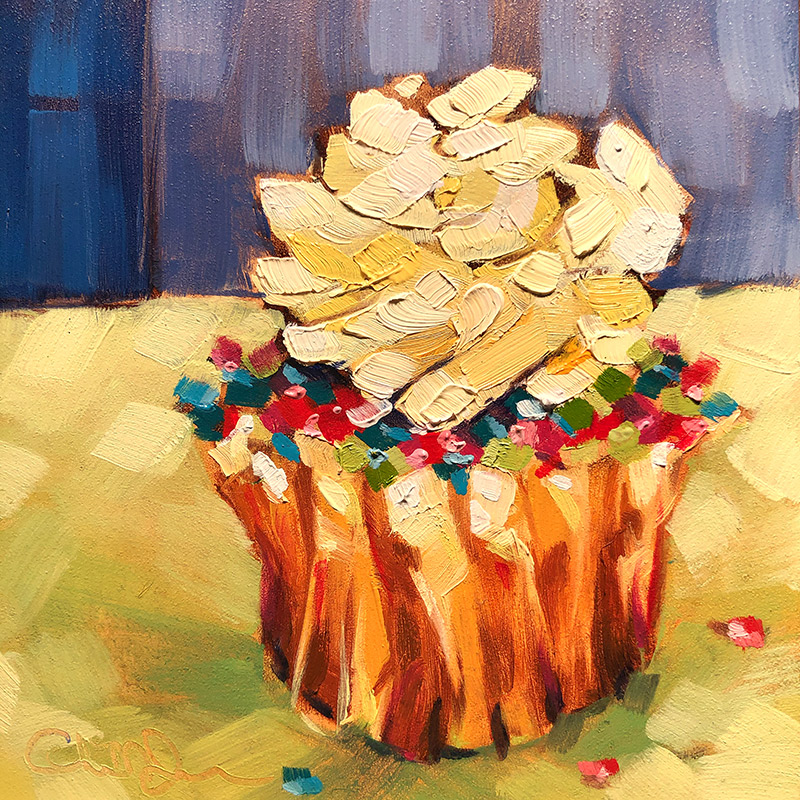 "Christina Johnson ""Chartreuse Sprinkles"" 4x4 oil $75. SOLD"