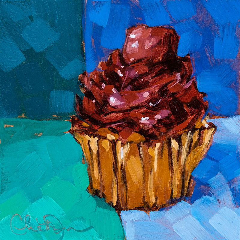 "Christina Johnson ""Chocolate Minty Fresh"" 4x4 oil $75. SOLD"