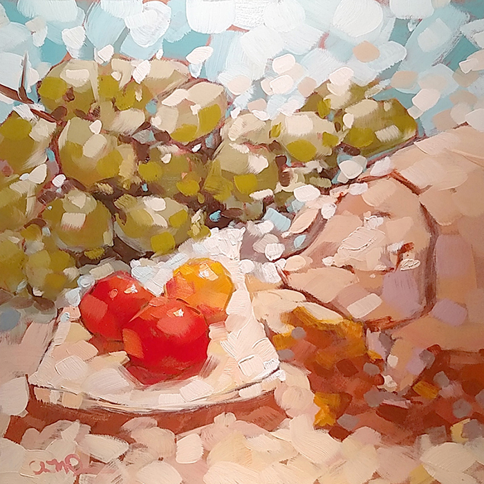 "Christina Johnson ""Fruit Globes"" 8x8 oil $150."