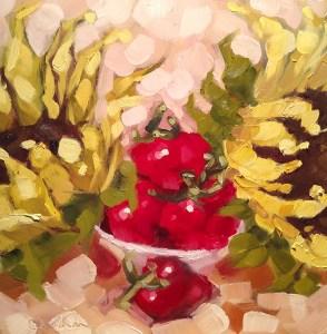 "Christina Johnson ""Fruited Sunflowers I"" 8x8 oil $150."