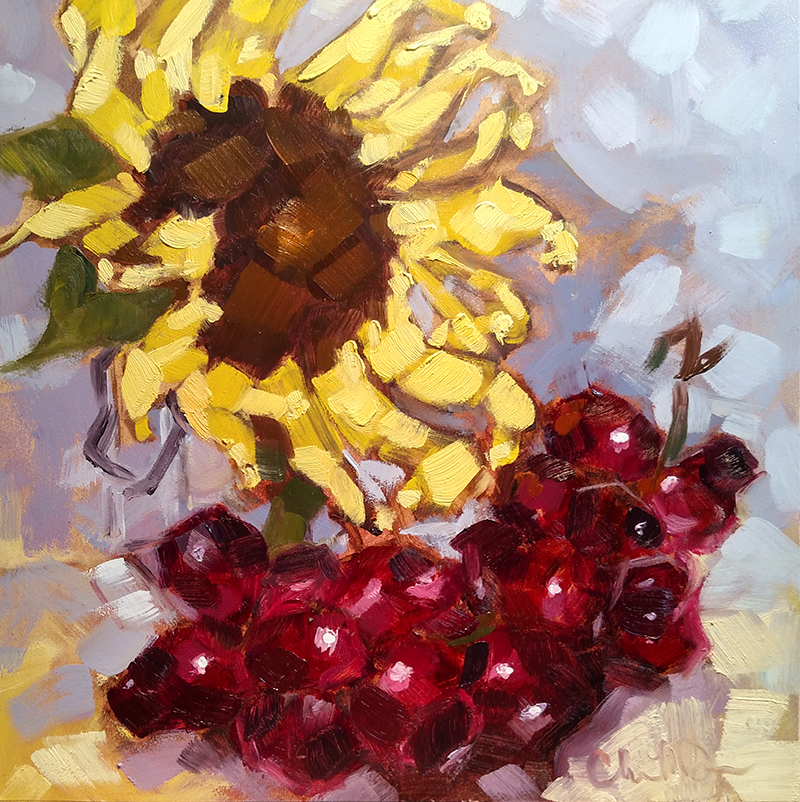 "Christina Johnson ""Fruited Sunflowers II"" 8x8 oil $150."