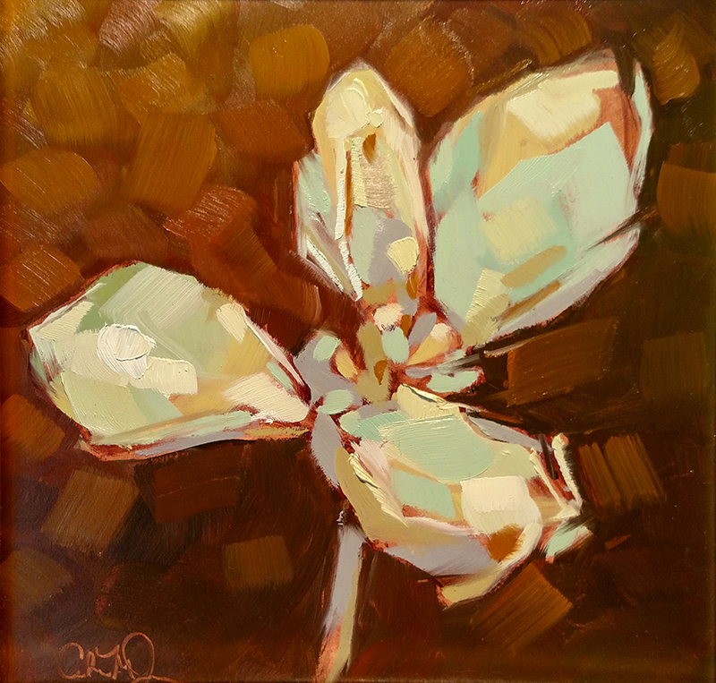 "Christina Johnson ""Golden Succulents I"" 8x8 oil $150. SOLD"