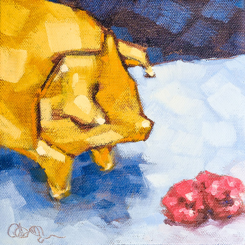 "Christina Johnson ""Little Piggy's Raspberries"" 6x6 oil $100."