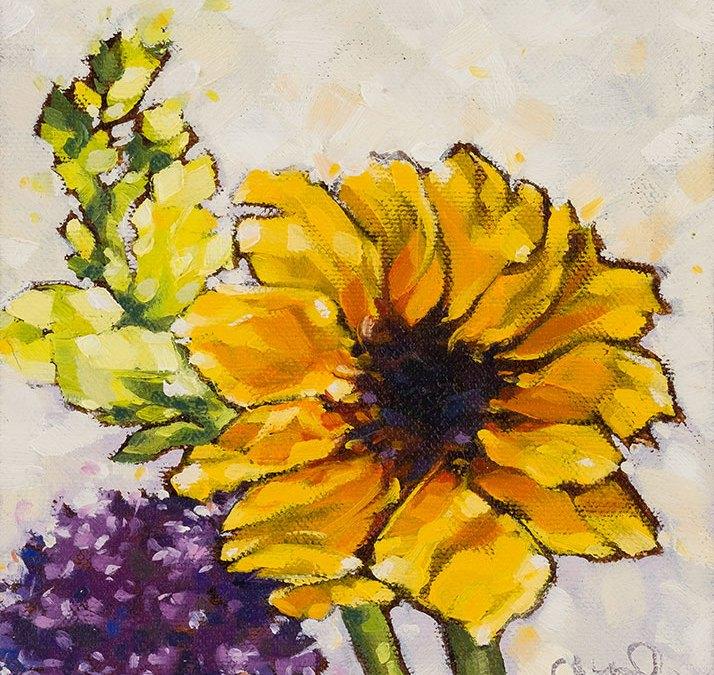 "Christina Johnson ""Spring Bouquet"" 6x6 oil $150."