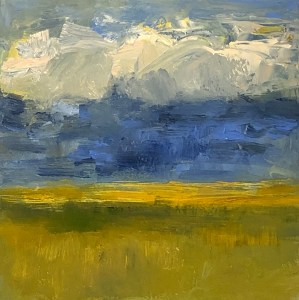 "Ileen Kaplan ""Clouds Over Golden Fields"" 6x6 oil $300."