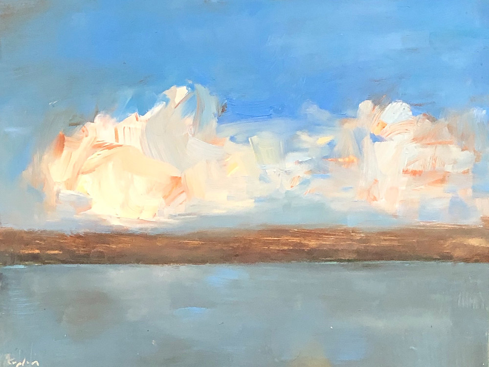 "Ileen Kaplan ""Clouds Over Seneca Lake"" 6x8 oil $330."