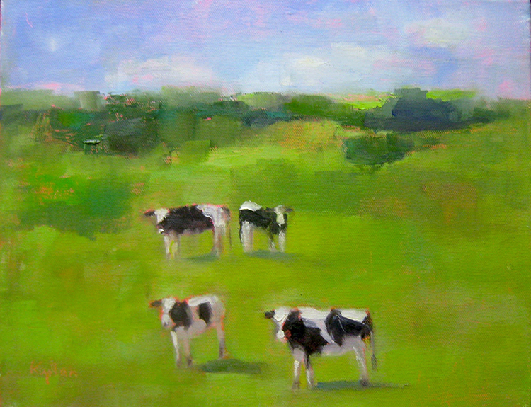 """Ileen Kaplan """"Summer Cows"""" 9x12 oil $485."""