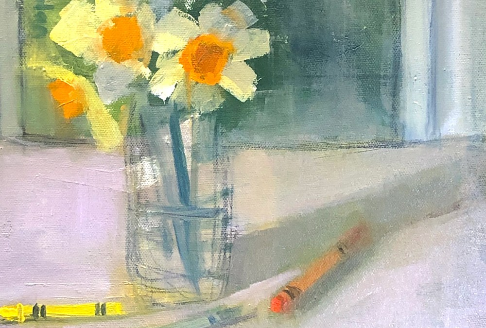 "Ileen Kaplan ""Daffodils and Crayons"" 8x10 oil $425."