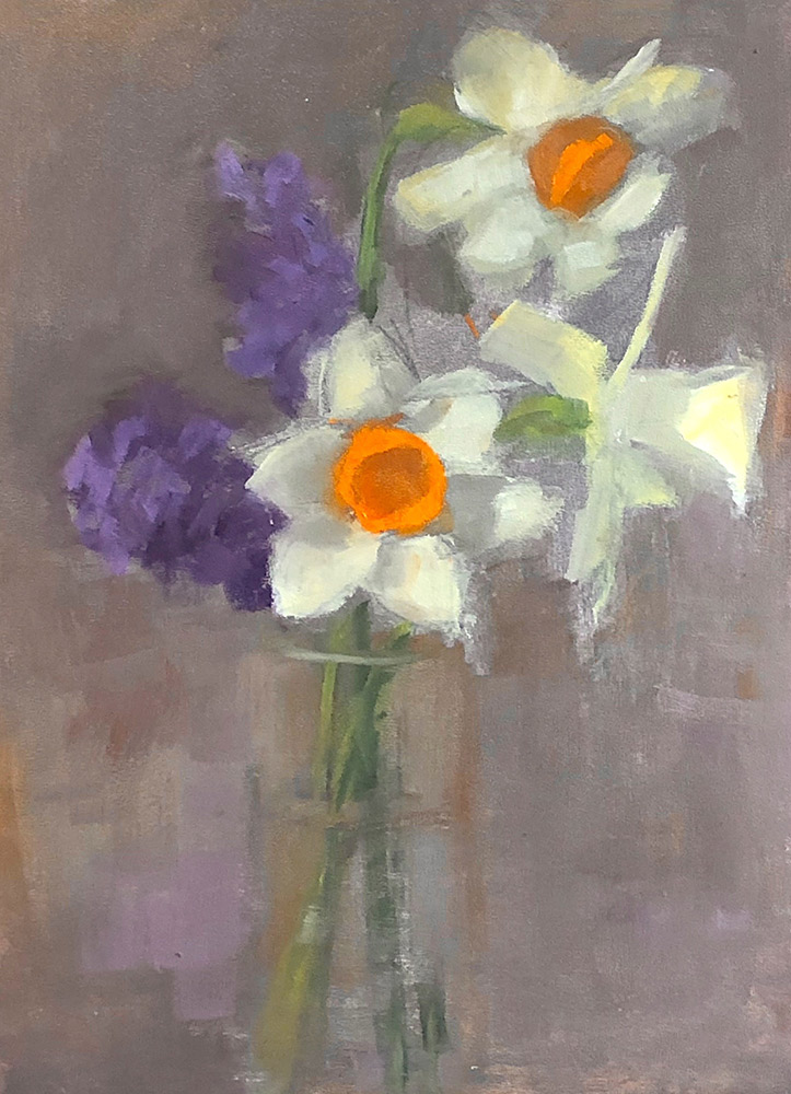 "Ileen Kaplan ""Daffodils and Hyacinths"" 12x9 oil $450."