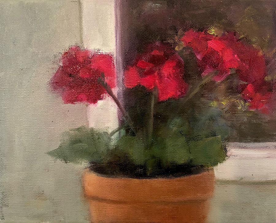 "Ileen Kaplan ""Evening Geraniums"" 8x10 oil $485."