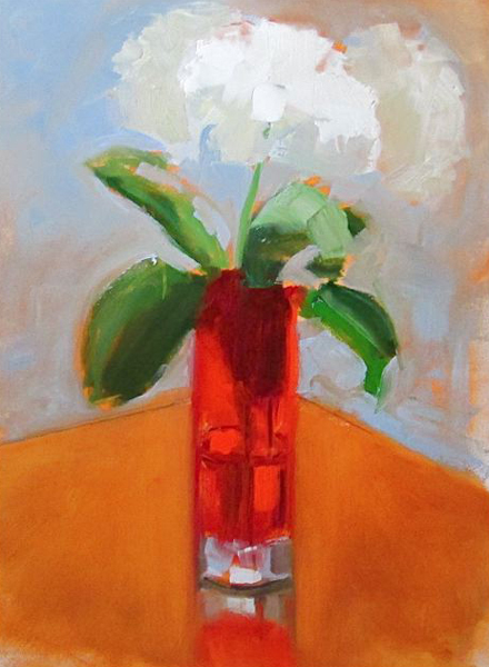 "Ileen Kaplan ""Hydrangeas in a Red Glass Vase"" 12x9 oil $425."