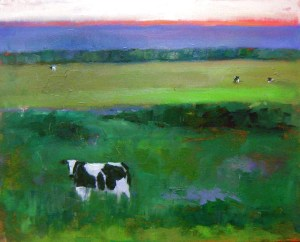 """KaplanIlluminatedCowL - Illeen Kaplan """"Illuminated Cow"""" Oil Painting"""
