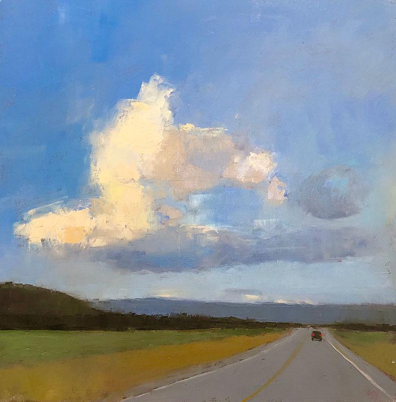 "Ileen Kaplan ""Long Road Home"" 24x24 oil $1,250."