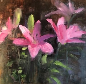 "Ileen Kaplan ""Morning Lilies"" (inquire on size) oil $585."