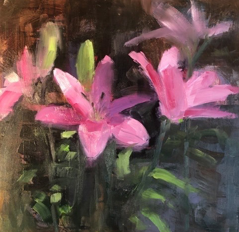 """Ileen Kaplan """"Morning Lilies"""" (inquire on size) oil $585."""