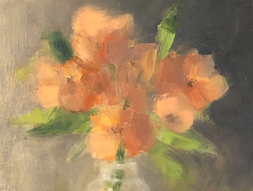 "Ileen Kaplan ""Orange Bouquet"" 6x8 oil $325."