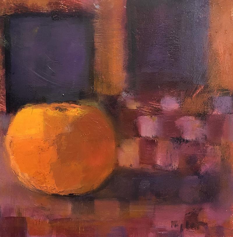 """Ileen Kaplan """"Orange Glow"""" 6x6 oil $285."""