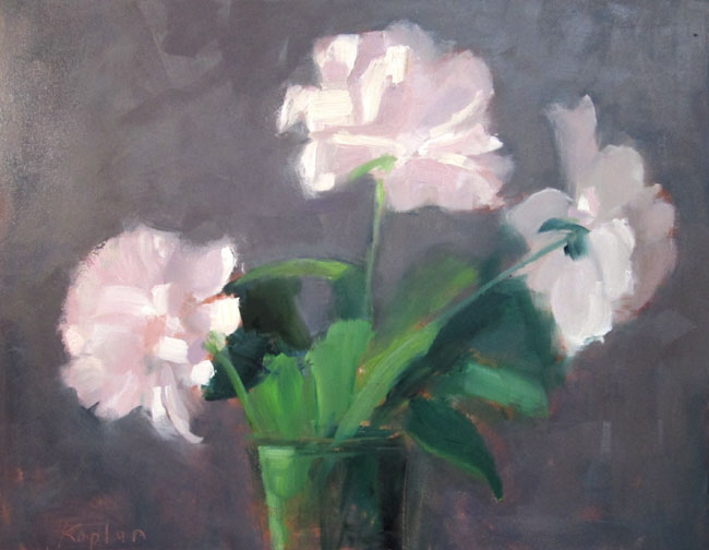"Ileen Kaplan ""Three Peonies"" 11x14 oil $525."
