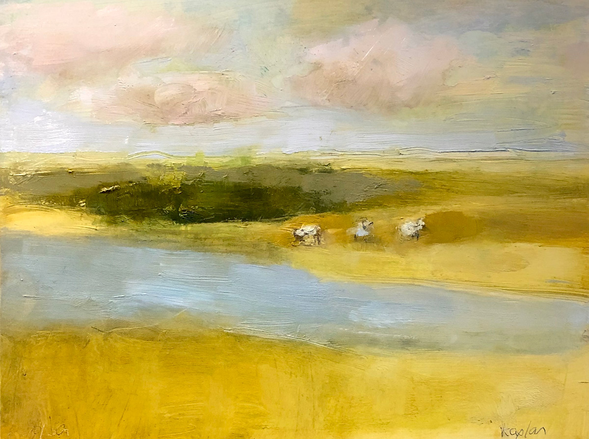 """Ileen Kaplan """"Sheep by the Stream"""" 6x8 oil $325. SOLD"""