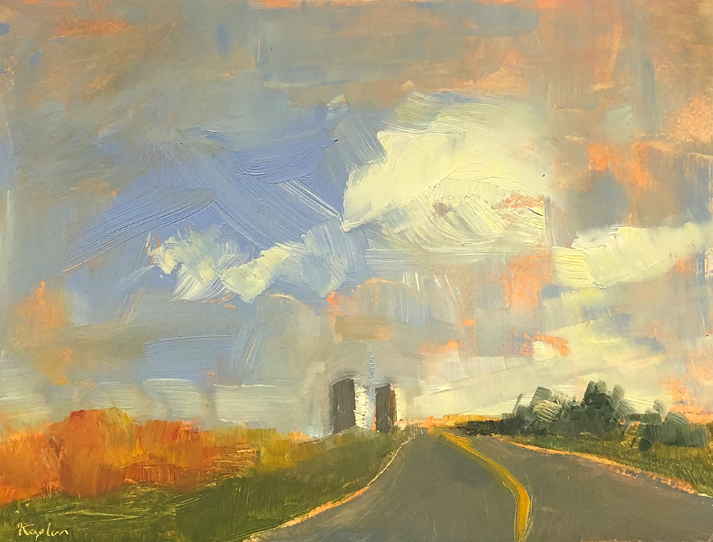 "Ileen Kaplan ""Silos in the Distance"" 6x8 oil $325."