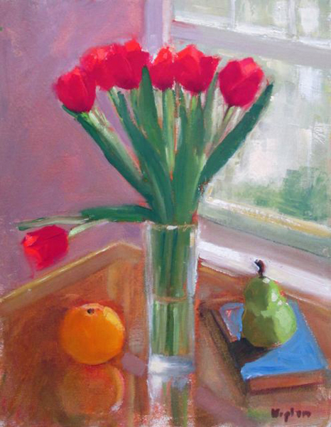 "Ileen Kaplan ""Tulips in the Window"" 14x11 oil $525."