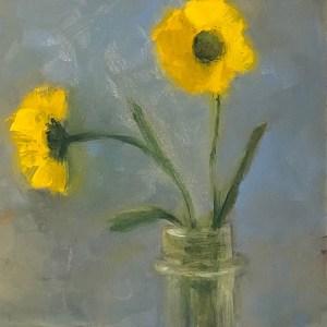 "Ileen Kaplan ""Yellow Daisies"" 6x6 oil $295."