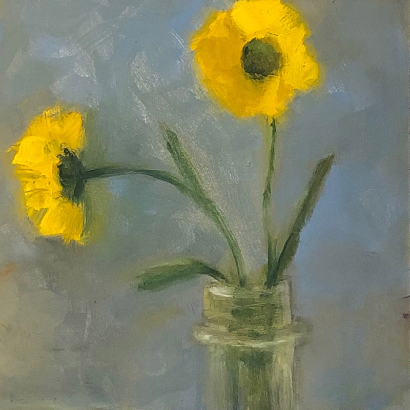 "Ileen Kaplan ""Yellow Daisies"" 6x6 oil $295."