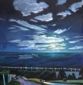 "Brian Keeler ""August Moon - Keuka Nocturne"" 30x30 oil $3,000."