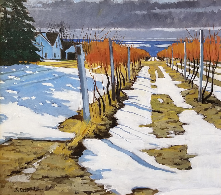 "Brian Keeler ""December Light in the Vineyard - Hector, NY"" 18x20 $1,600."