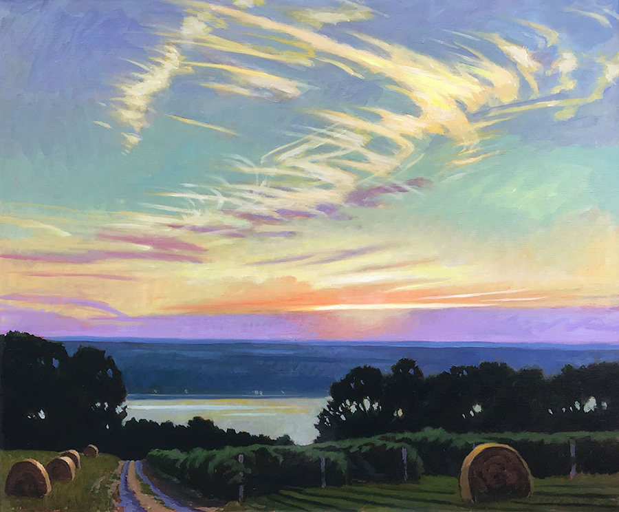"Brian Keeler ""July Evening Mares Tails - Seneca"" 30x36 oil/linen $3,400."