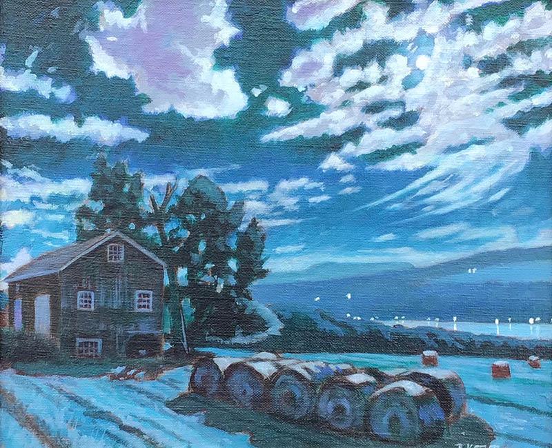 """Brian Keeler """"Keuka Moon and Clouds"""" 10x12 oil $700."""