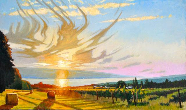 "Brian Keeler ""Mid-August Evening Over Seneca Lake"" 36x60 oil unframed $8,400."