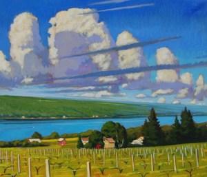 """Brian Keeler """"Seneca Cumulus, Near Burdett, NY"""" 26x30 oil $2800."""
