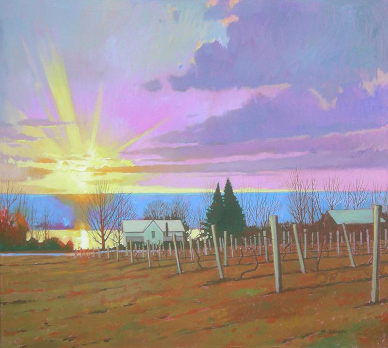 "Brian Keeler ""Vineyard View Near Watkins Glen"" 36x40 oil $5,400."