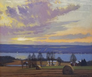 "Brian Keeler ""Seneca Evening Glow Near Lodi, NY"" 26x30 oil $2,800."